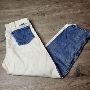Vintage 2 Tone Acid Washed Denim Jeans. Perfect!